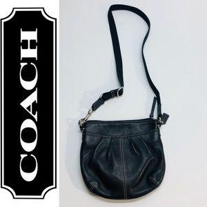 Coach women's crossbody genuine black leather